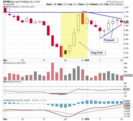 chart patterns - continuation pattern bull pennant pattern